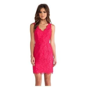 Shoshanna pink lace sheath dress